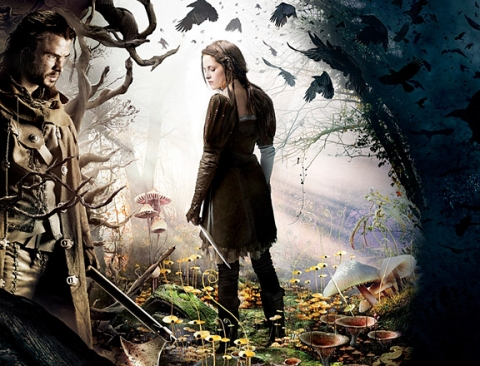 Kristen Stewart as Snow White and Chris Hemsworth as the Huntsman