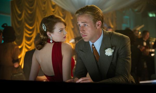 """Emma Stone y Ryan Gosling en """"Gangster Squad""""."""