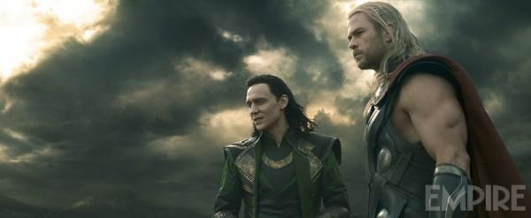 "Tom Hiddleston y Chris Hemsworth en ""Thor: The Dark World""."