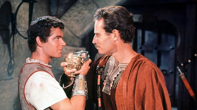 "Stephen Boyd y Charlton Heston en ""Ben-Hur""."