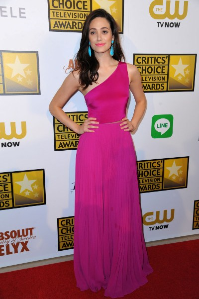 "Emmy Rossum al llegar a los Critic's Choice Awards 2014. Estaba nominada por la serie ""Shameless""."