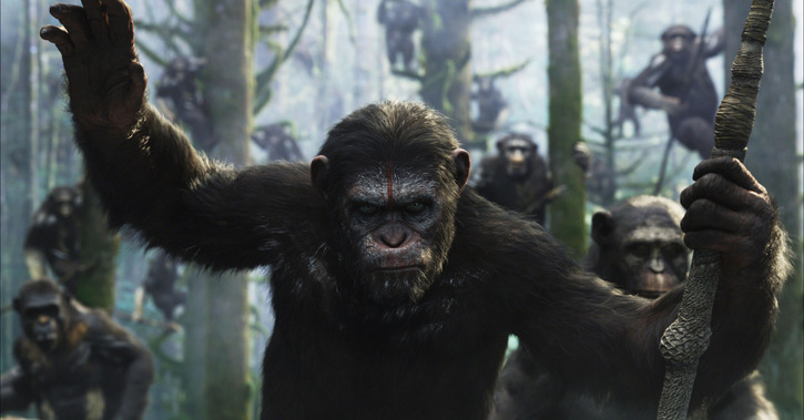 "Escena de ""Dawn of the Planet of the Apes""."