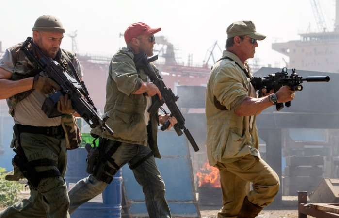 "Randy Couture, Jason Statham y Sylvester Stallone en ""The Expendables 3""."