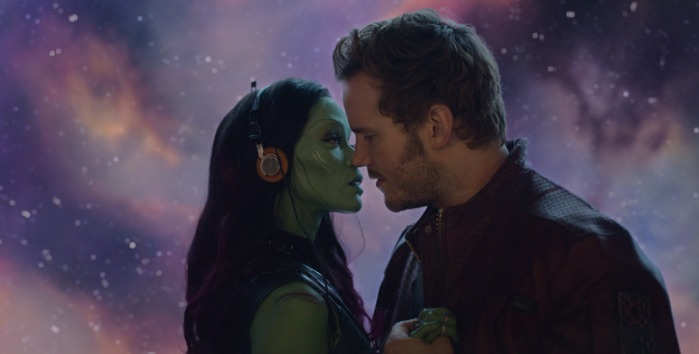 "Zoe Saldaña y Chris Pratt en ""Guardians of the Galaxy""."