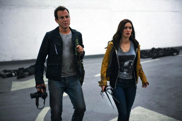 "Will Arnett y Megan Fox en ""Teenage Mutant Ninja Turtles"" (2014)."