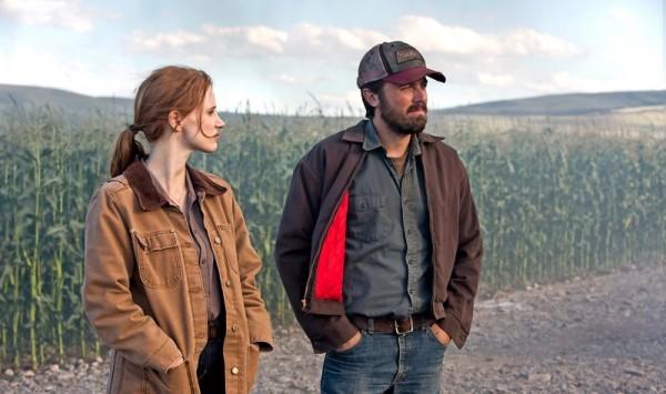 "Jessica Chastain y Casey Affleck en ""Interstellar""."