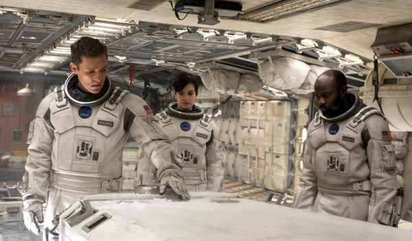 "Matthew McConaughey, Anne Hathaway y David Oyelowo en ""Interstellar""."