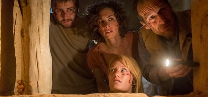 "James Buckley, Christa Nicola, Ashley Hinshaw y Denis O'Hare en ""The Pyramid""."