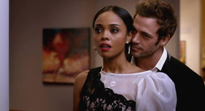 "Sharon Leal y William Levy en ""Addicted""."