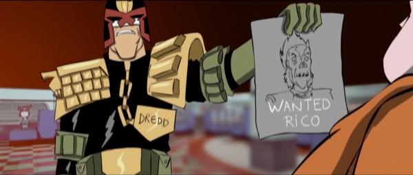 "Imagen de Dredd en la miniserie animada ""Superfiend""."
