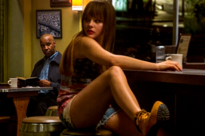 "Denzel Washington y Chloë Grace Moretz en ""The Equalizer""."