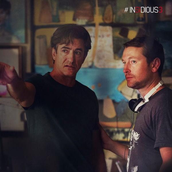 "Dermot Mulroney y Leigh Whannell en la filmación de ""Insidious: Chapter 3""."