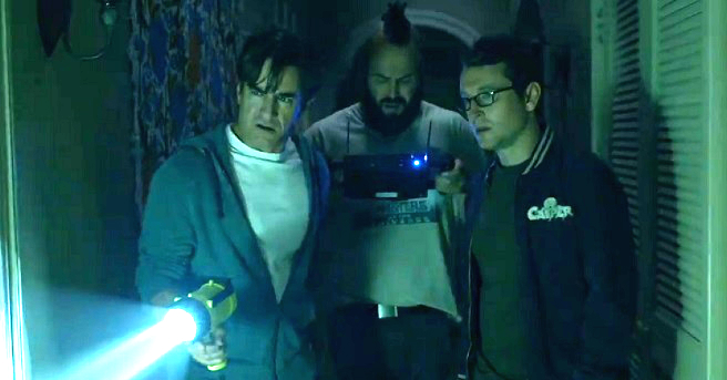 "Dermot Mulroney, Angus Sampson y Leigh Whannell en  ""Insidious: Chapter 3""."