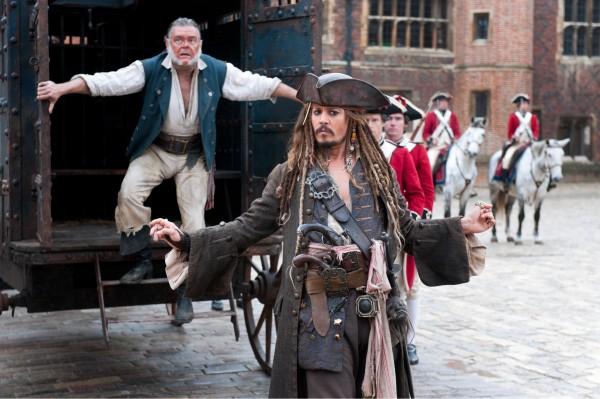 "Johnny Depp en ""Pirates of the Caribbean: On Stranger Tides"" (2011)."