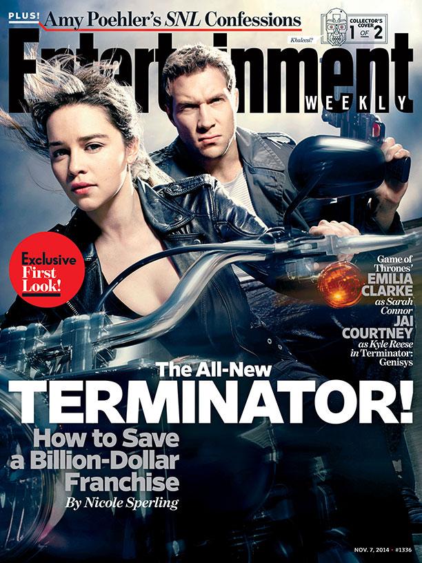 """Emilia Clarke y Jai Courtney en la portada de Entertainment Weekle, donde de promociona sus roles en """"Terminator Genisys""""."""