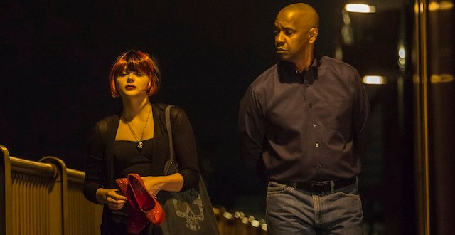 "Chloë Grace Moretz y Denzel Washington en ""The Equalizer""."