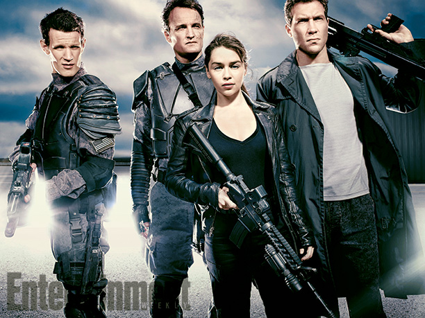 "Matt Smith, Jason Clarke, Emilia Clarke y Jai Courtney en ""Terminator: Genisys""."