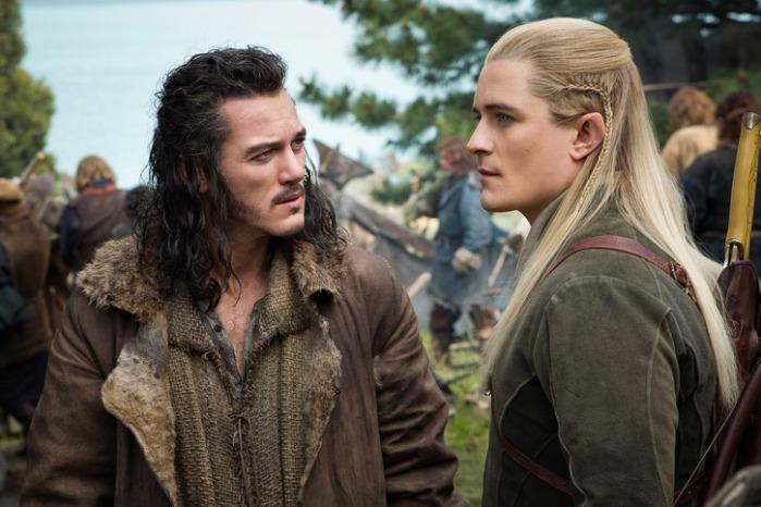 "Luke Evans y Orlando Bloom en ""The Hobbit: The Battle of the Five Armies""."