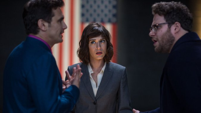 "James Franco, Lizzy Caplan y James Franco en ""The Interview""."