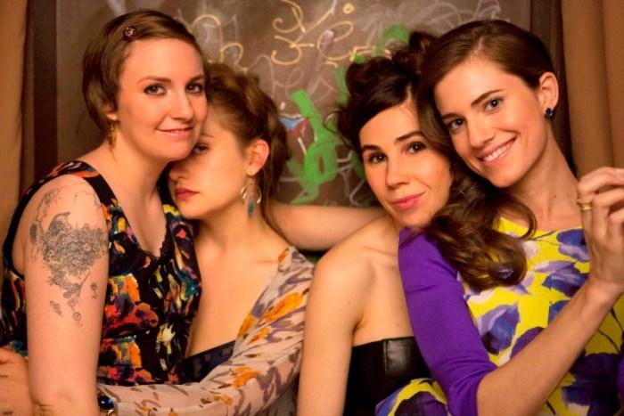 """Lena Dunham, Jemima Kirke, Zosia Mamet y Allison Williams, en un promocional de """"Girls""""."""