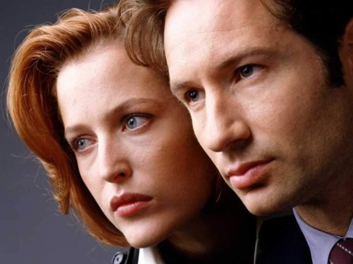 "Gillian Anderson y David Duchovny protagonizadon ""The X-Files"" (1993 – 2002)."