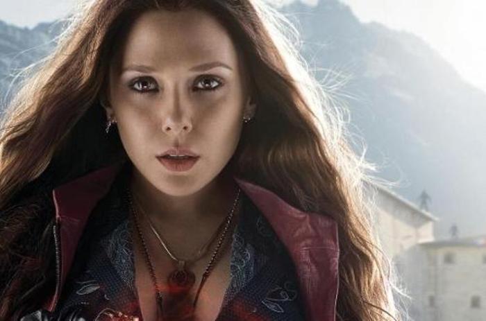 """Elizabeth Olsen en un promocional de """"Avengers: Age of Ultron""""."""