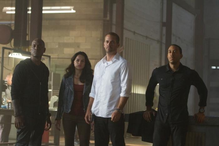 "Ludacris, Michelle Rodriguez, Paul Walker y Tyrese Gibson en ""Furious Seven""."