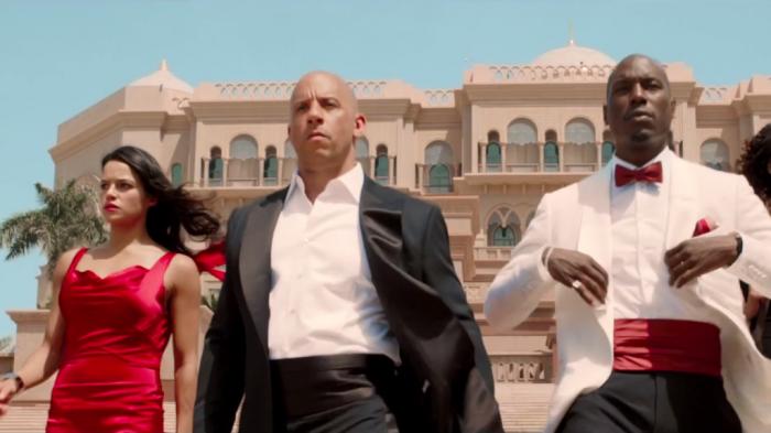 "Michelle Rodríguez, Vin Diesel y Tyrese Gibson en ""Furious Seven""."