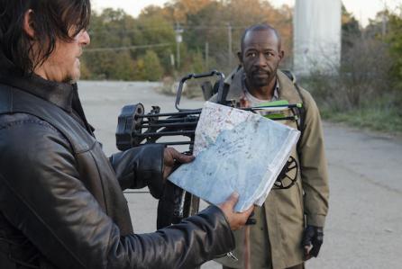 "Normal Reedus y Lennie James en ""The Walking Dead"" (final 5ta. temporada)."