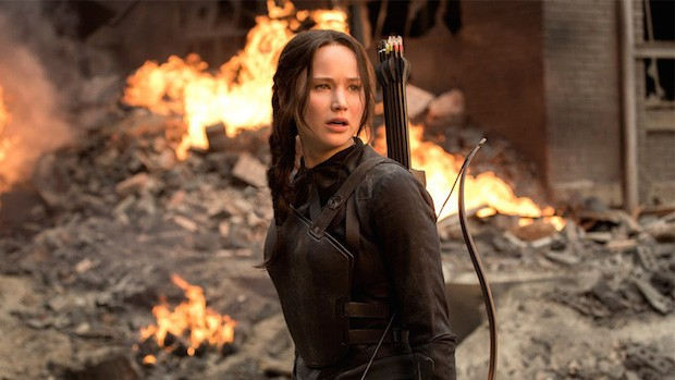 "Jennifer Lawrence en ""The Hunger Games: Mockingjay – Part 1″."
