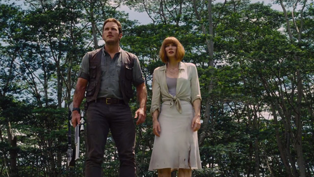 "Chris Pratt y Bryce Dallas Howard en ""Jurassic World""."