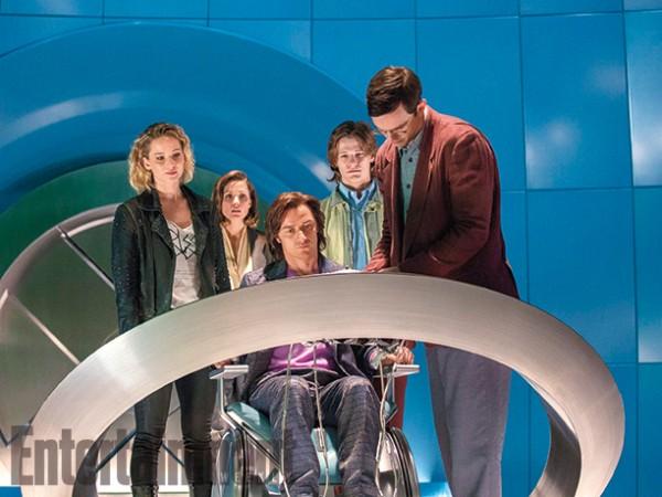 """Jennifer Lawrence, Rose Byrne, James McAvoy, Lucas Till y Nicholas Hoult en """"X-Men: Apocalypse""""."""