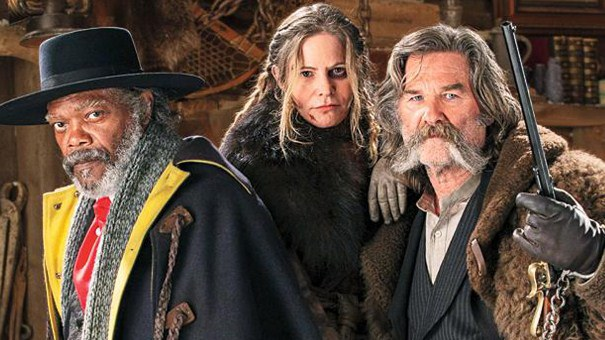 "Samuel L. Jackson, Jennifer Jason Leigh y Kurt Russell en ""The Hateful Eight""."