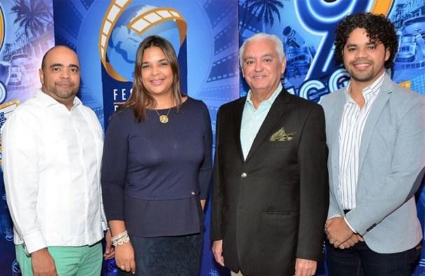Omar de la Cruz, Yvette Marichal, Cuquín Victoria y Danilo Reynoso, durante la rueda de prensa del FCGD.