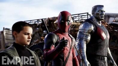 "Brianna Hildebrand, Ryan Reynolds y Stefan Kapicic en ""Deadpool""."